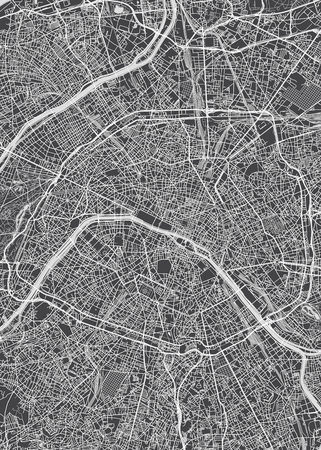 City map Paris, monochrome detailed plan, vector illustration