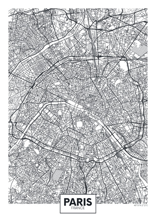 City map Paris, travel vector poster design Archivio Fotografico - 123947935