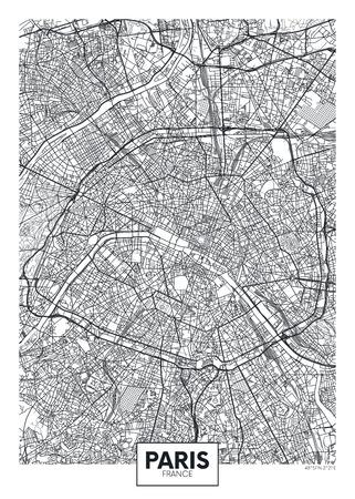 Mapa de la ciudad de París, diseño de carteles de vectores de viajes