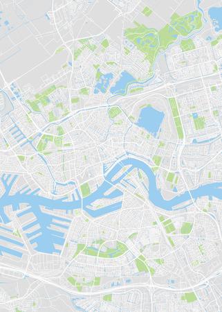 Pianta della città di Rotterdam, mappa vettoriale dettagliata piano dettagliato della città, dei fiumi e delle strade