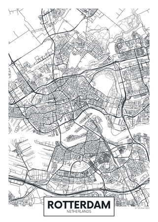 City map Rotterdam, travel vector poster design detailed plan of the city, rivers and streets