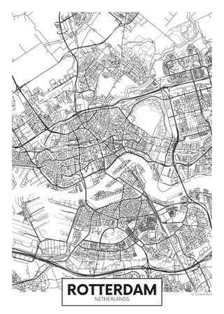 Mapa de la ciudad de Rotterdam, diseño de carteles de vectores de viajes plan detallado de la ciudad, ríos y calles Ilustración de vector