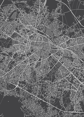 Sofia city plan, detailed vector map detailed plan of the city, rivers and streets