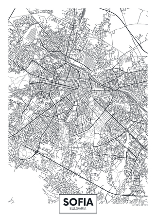 City map Sofia, travel vector poster design detailed plan of the city, rivers and streets Illustration