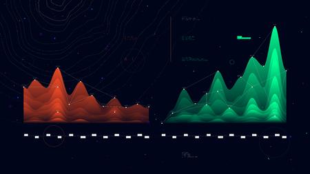Complex futuristic infographics data thread visualization profit and loss schedule, vector illustration
