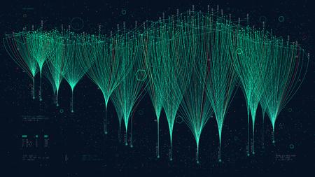 Crossmediales Marketing-Mesh, das Verbindungen, Cloud-Data-Computing und neuronales Netzwerk darstellt, kreatives Konzept für die Präsentation für die Finanzpräsentation