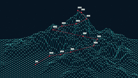 Cyberspace grid 3d technology wireframe landscape, Climbing route to the top mountain, Business is the way to success, creative concept for presentation Illustration