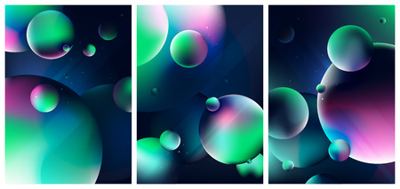 Fantasy scene with planets and stars in dark space, Colorful view of the universe, Set of design trendy covers with gradient shapes, Vector illustration for your design Ilustrace