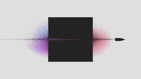 Proiettile volante attraverso il quadrato nero, esplosione di particelle dal colpo Illustrazione vettoriale per la progettazione di opuscoli e poster