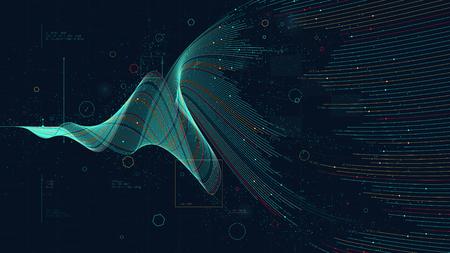 Analisi di business futuristica visualizzazione di big data digitale, investimento finanziario e concetto di crescita economica per la presentazione finanziaria Vettoriali
