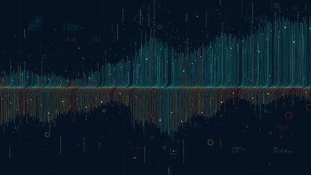 Infografica futuristica data thread visualizzazione programma di profitti e perdite, grafico statistico e analisi finanziaria per la presentazione finanziaria