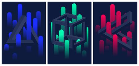 Formes géométriques impossibles et lignes de dégradé de couleurs, ensemble de dépliants et de brochures, arrière-plan abstrait vectoriel illusion d'optique pour votre conception Vecteurs