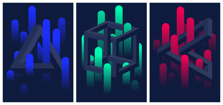 Impossible geometric shapes and color gradient lines, set of flyers and brochures, optical illusion vector abstract background for your design