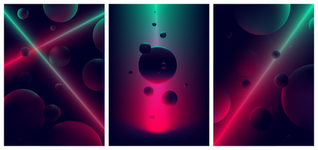 Neon laser line glow illuminates a spheres,  Abstract background space and planet, Futuristic vector gradient poster in retro style for your design
