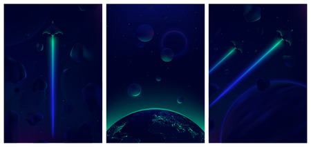Spaceship flying in deep space with meteorites in the background, Fantastic view of the Earth from space, Neon glowing vector illustration for your design Illustration