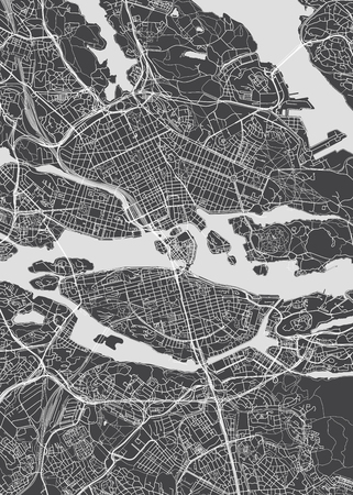 City map Stockholm, monochrome detailed plan, vector illustration for your design