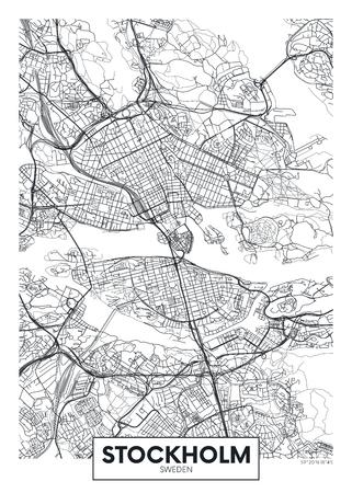 Mapa de la ciudad de Estocolmo, diseño de carteles de vectores de viajes para decoración de interiores Ilustración de vector