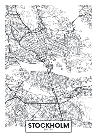 City map Stockholm, travel vector poster design for interior decoration Illustration