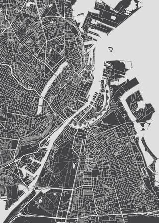 Stadtplan Kopenhagen, monochromer detaillierter Plan, Vektorillustration für Ihr Design