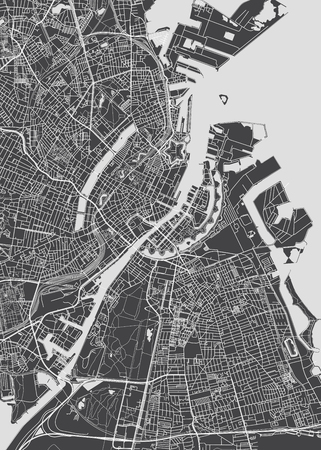 City map Copenhagen, monochrome detailed plan, vector illustration for your design