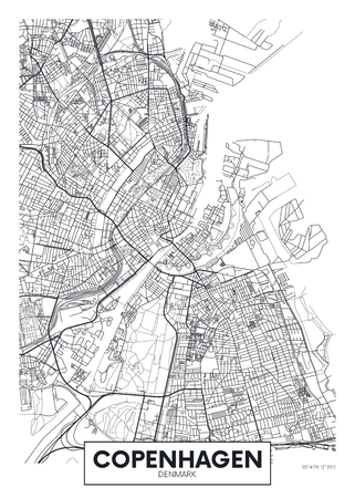Mapa de la ciudad de Copenhague, diseño de carteles de vectores de viajes para decoración de interiores Ilustración de vector