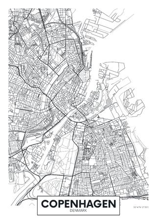 Mappa della città Copenaghen, poster di viaggio vettoriale design per la decorazione d'interni Vettoriali