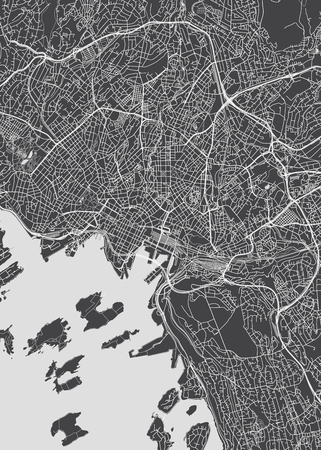 City map Oslo, monochrome detailed plan, vector illustration for your design