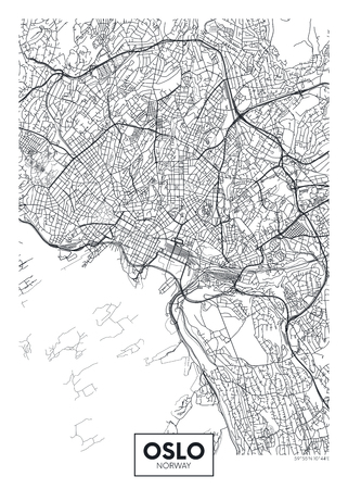 City map Oslo, travel vector poster design for interior decoration Ilustrace