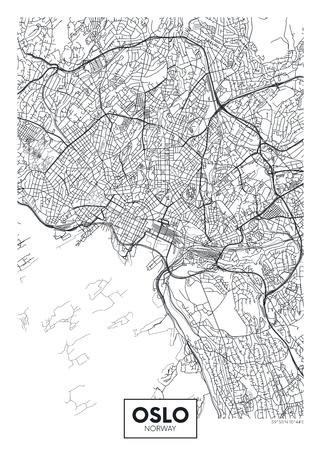 City map Oslo, travel vector poster design for interior decoration Illustration