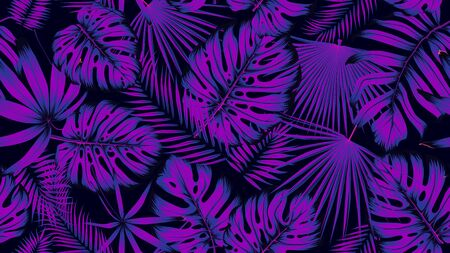 Trendy seamless tropical pattern with exotic leaves in ultraviolet light, Vector poster for your design