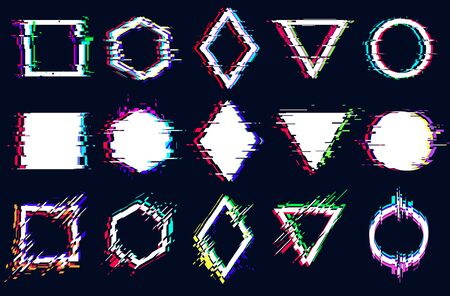 Vector abstract geometric shapes with glitch effect, digital defect, frame distortion, square, hexagon, rhombus, triangle, circle with vhs noise