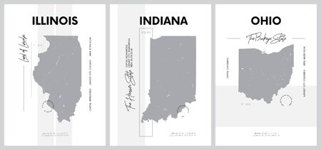 Vector posters with highly detailed silhouettes of maps of the states of America, Division East North Central - Illinois, Indiana, Ohio - set 4 of 17