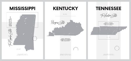 Vector posters with highly detailed silhouettes of maps of the states of America, Division East South Central - Mississippi, Kentucky, Tennessee - set 11 of 17