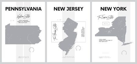 Vector posters with highly detailed silhouettes of maps of the states of America, Division Mid-Atlantic - Pennsylvania, New Jersey, New York - set 3 of 17 Ilustração