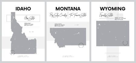 Vector posters with highly detailed silhouettes of maps of the states of America, Division Mountain - Idaho, Montana, Wyoming - set 15 of 17