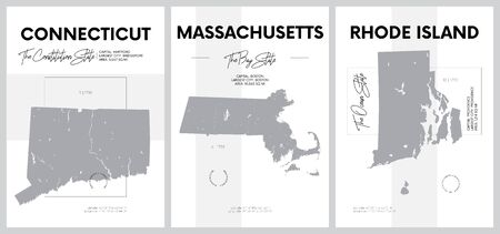 Vector posters with highly detailed silhouettes of maps of the states of America, Division New England - Connecticut, Massachusetts, Rhode Island - set 2 of 17 Ilustrace