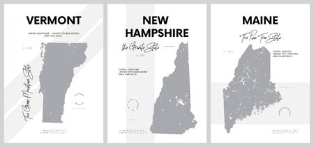 Vector posters with highly detailed silhouettes of maps of the states of America, Division New England - Vermont, New Hampshire, Maine - set 1 of 17