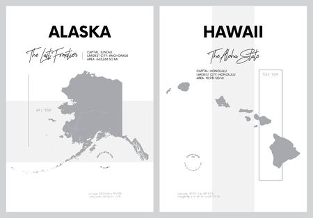 Vector posters with highly detailed silhouettes of maps of the states of America, Division Pacific - Alaska, Hawaii - set 17 of 17 Illustration