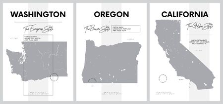 Vector posters with highly detailed silhouettes of maps of the states of America, Division Pacific - Washington, Oregon, California - set 16 of 17