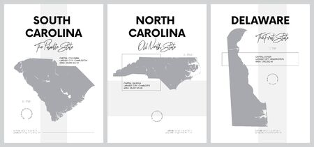 Vector posters with highly detailed silhouettes of maps of the states of America, Division South Atlantic - South Carolina, North Carolina, Delaware - set 9 of 17 Illustration