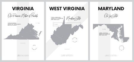 Affiches vectorielles avec des silhouettes très détaillées de cartes des États d'Amérique, Division de l'Atlantique Sud - Virginie, Virginie-Occidentale, Maryland - ensemble 8 sur 17