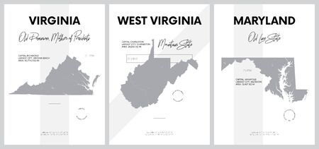 Vector posters with highly detailed silhouettes of maps of the states of America, Division South Atlantic - Virginia, West Virginia, Maryland - set 8 of 17 Иллюстрация