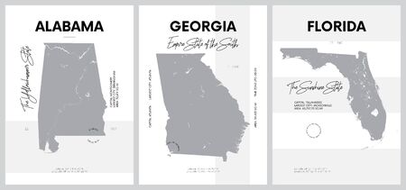 Vector posters with highly detailed silhouettes of maps of the states of America, Division South Atlantic and East South Central - Alabama, Georgia, Florida - set 10 of 17