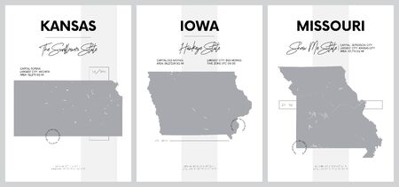 Vector posters with highly detailed silhouettes of maps of the states of America, Division West North Central - Kansas, Iowa, Missouri - set 6 of 17