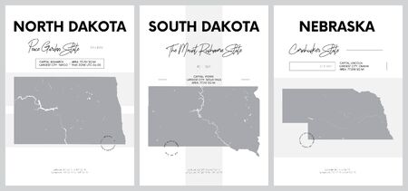 Vector posters with highly detailed silhouettes of maps of the states of America, Division West North Central - North Dakota, South Dakota, Nebraska - set 7 of 17