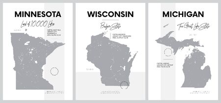 Vector posters with highly detailed silhouettes of maps of the states of America, The Great Lakes region - Minnesota, Wisconsin, Michigan - set 5 of 17