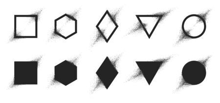 Vector set of geometric shapes with particle spray effect, Destruction of the figure turning into dust 向量圖像