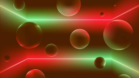Space with neon rays and soaring balls, flying figures in the room with a gradient reflex, vector illustration