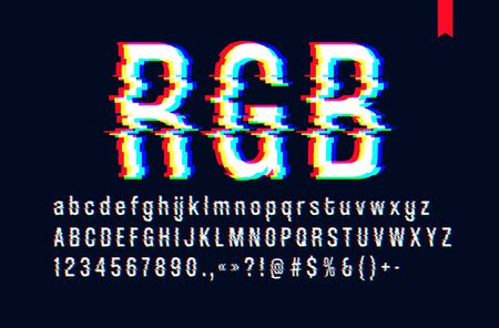 Modern style distorted glitch typeface, mixing red green and blue channel screen defect, uppercase and lowercase letters, only for a dark background Ilustração