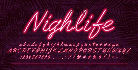 Fuente de alfabeto de luz de neón, letras mayúsculas y minúsculas dibujadas a mano rojo brillante, diseño de tipografía de tipografía vectorial, fondo de pared de ladrillo con hojas tropicales